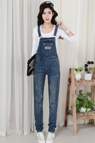 เอี๊ยมกางเกงขายาว พร้อมส่ง สียีนส์เข้ม เอี๊ยมกางเกงขายาว สุดเท่ห์ แบบใหม่สไตล์เกาหลี งานเป๊ะ ทรงเก๋เหมือนนางแบบเลยค่ะ