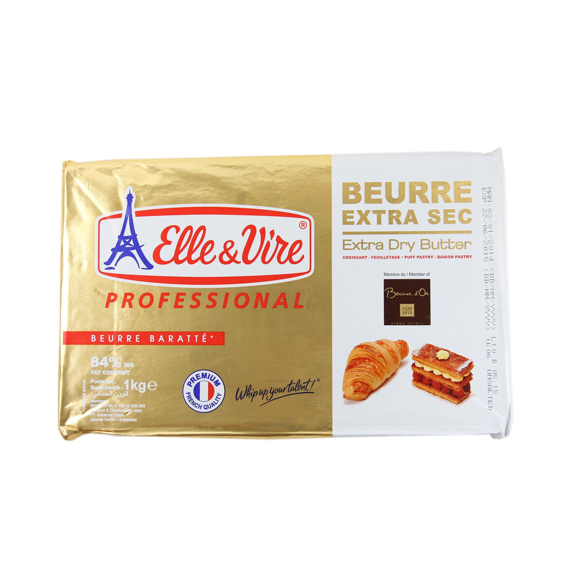 Elle&Vire เนยครัวซอง พาย ( Elle&Vire extra dry pastry butter) 1 kg (ไม่จัดส่งทางไปรษณีย์)
