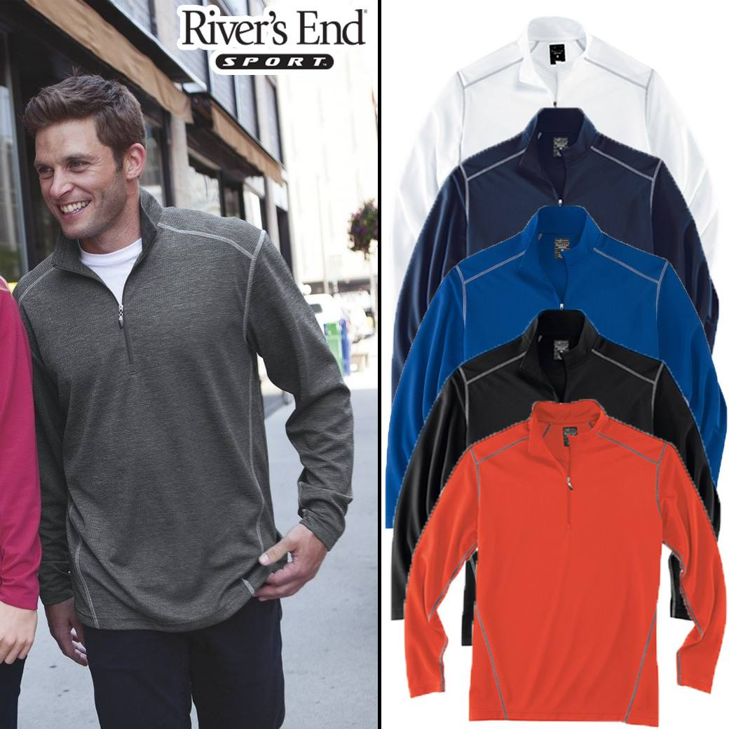 River's End Contrast Stitch Half-Zip Pullover
