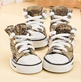 รองเท้าสุนัข รองเท้าแมว แบบผ้าใบ สีน้ำตาล (4 ข้าง)