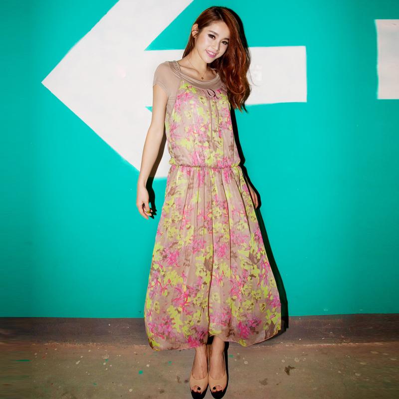 MAXI DRESS ชุดเดรสยาวแฟชั่น 2 ชิ้น ผ้าชีฟอง พื้นสีน้ำตาล ลายเขียว ชมพู ม่วง ใส่ทำงาน ใส่ออกงานได้ น่ารัก ASIA STREET FASHION