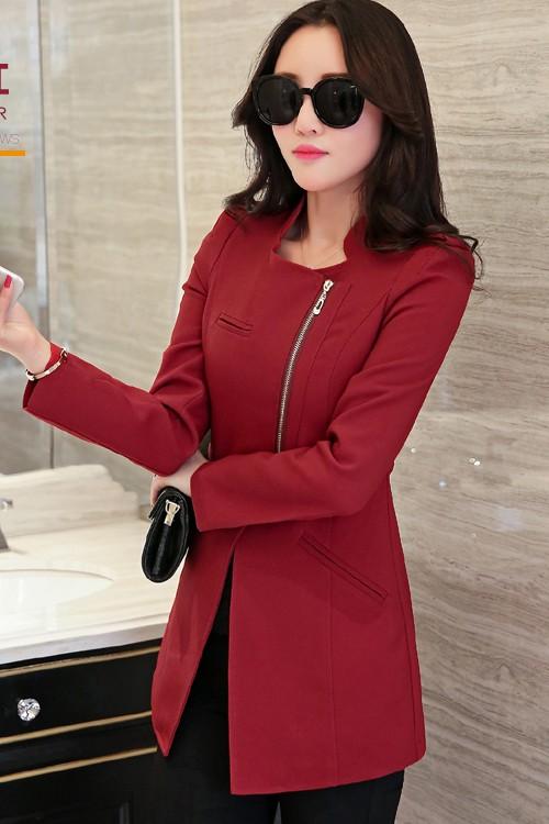 เสื้อสูทแฟชั่น เสื้อสูททำงาน พร้อมส่ง สีแดงเข้ม เนื้อผ้าคอตตอน 100% เนื้อผ้าดี มีความยืดหยุ่นได้ดีค่ะ งานเนี๊ยบ คัตติ้งสวยสุดๆ