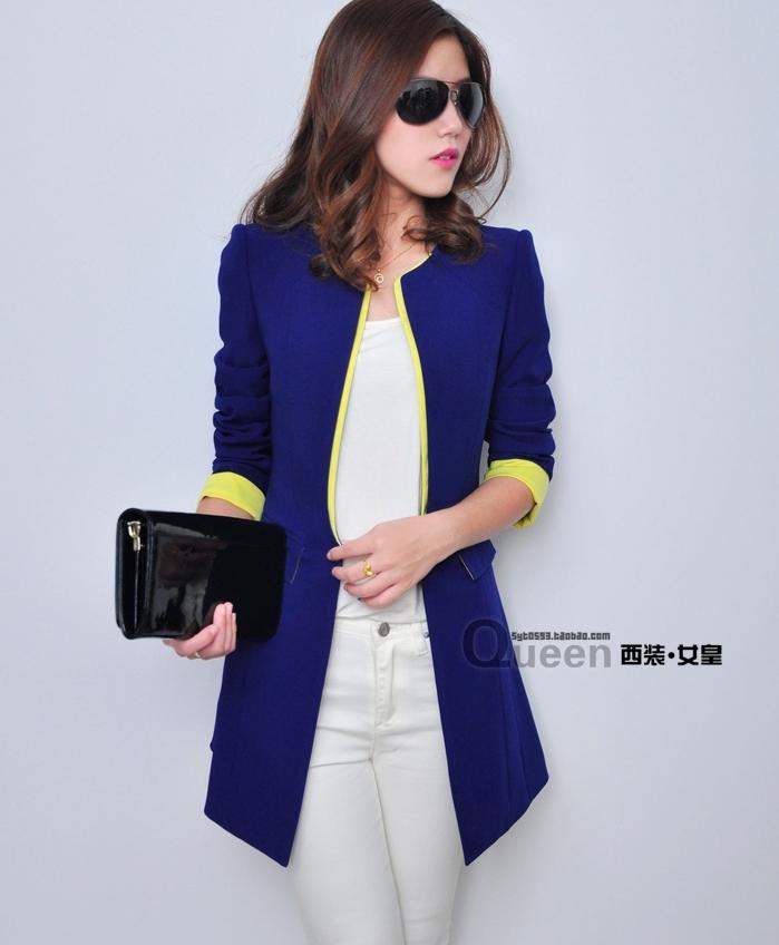 เสื้อสูทแฟชั่น พร้อมส่ง แขนยาว สีน้ำเงิน แต่งปลายแขนเสื้อสีเหลืองสดใส คอจีน ตัวยาวคลุมสะโพก เหมาะสำหรับใส่ทำงานได้