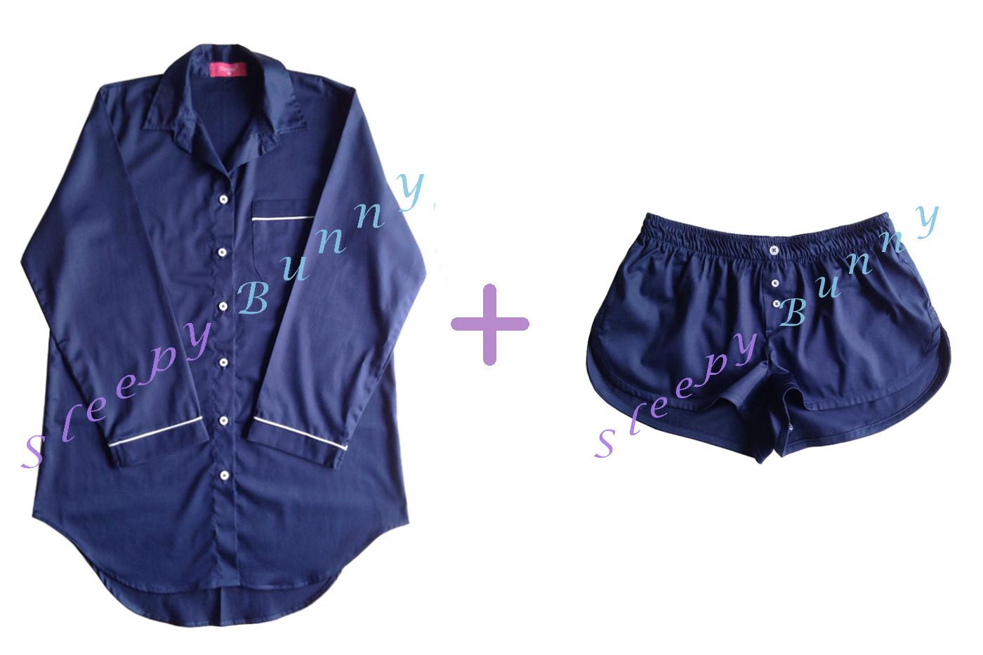 คุณสุพัฒจนาธรรม CF ค่ะ Promotion db13X set สีกรมท่าไซส์ใหญ่ ชุดนอนเดรสเชิ้ต (Size L) + boxer (Size XL) --> Pajamazz