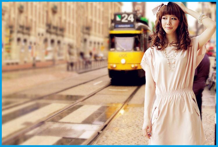 dress ชุดเดรสแขนสั้น สีครีม จั้มเอว ตกแต่งหัวไหล่ เดรสแฟชั่นใส่ทำงาน เที่ยว น่ารัก Asia Street Fashion