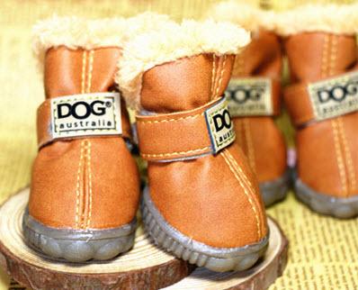 รองเท้าสุนัข รองเท้าแมว สีน้ำตาลแบบผ้ากันลื่น (4 ข้าง)