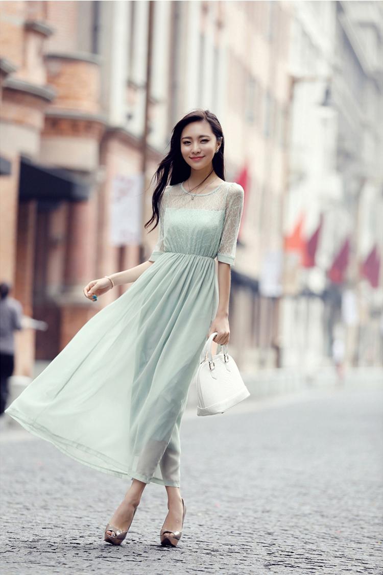 maxi dress ชุดเดรสยาวผ้าชีฟอง ผ้าลูกไม้ สีเขียว ใส่ทำงาน เที่ยว น่ารักๆ