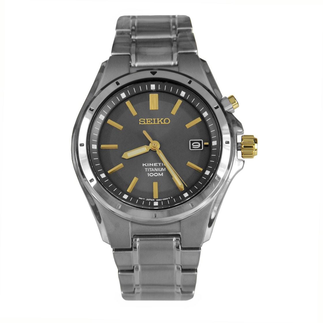 นาฬิกาข้อมือ Seiko Kinetic Titanium Grey Dial Gents Watch SKA495P1