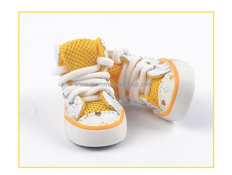 รองเท้าสุนัข รองเท้าแมว แบบผ้าใบลายเรียบ สีเหลือง (4 ข้าง)
