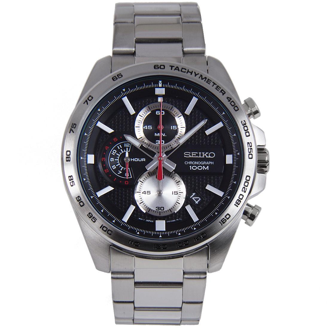 SEIKO Sport นาฬิกาข้อมือผู้ชาย Chronograph เรือนสแตนเลสหน้าปัดดำ รุ่น SSB255P1