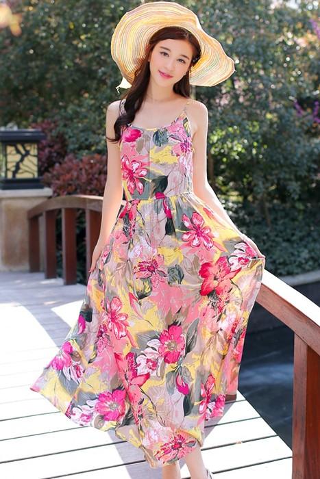 MAXI DRESS ชุดเดรสยาว พร้อมส่ง สีโทนชมพู ผ้าฝ้าย เนื้อดี ใส่สบาย ไม่มีซับใน พิมพ์ลายดอกไม้สีสวยสีชมพูสลับสีเหลือง สายเดี่ยว สามารถปรับสายได้ เอวยางยืด