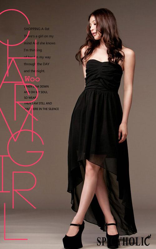 maxi dress ชุดเดรสยาว ชุดเดรสงานแต่งงาน เกาะอก ผ้าชีฟอง สีดำ สามารถใส่ออกงานได้ Asia Street Fashion