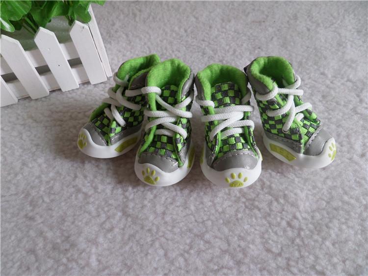 รองเท้าสุนัข รองเท้าแมว แบบผ้าใบ สีเขียว (4 ข้าง)