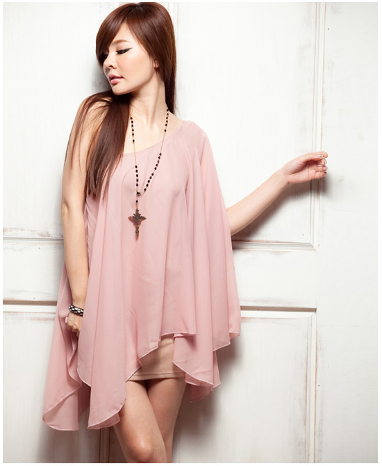 dress เดรสแฟชั่นเกาหลี สีชมพู เปิดไหล่ ผ้าชีฟอง คอตตอน ใส่ออกงาน งานแต่งงาน สวยๆ Asia Street Fashion