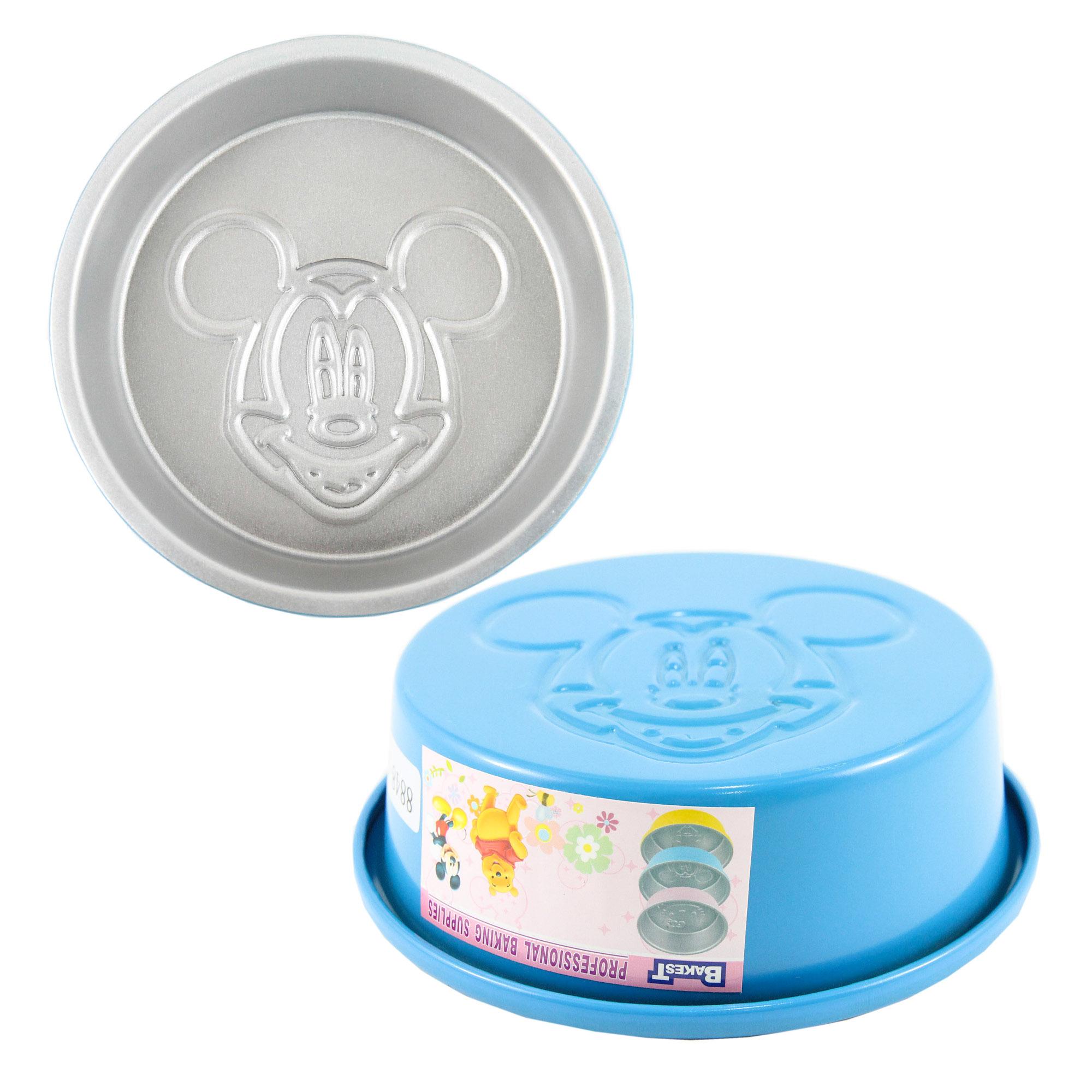 พิมพ์เค้กกลม สีฟ้า Micky Mouse