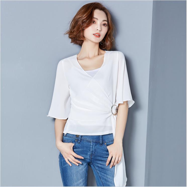 เสื้อทำงานสีขาว แขนสั้น ผ้าชีฟอง สวยเท่ ดูดี เรียบร้อยสไตล์สาวออฟฟิศ