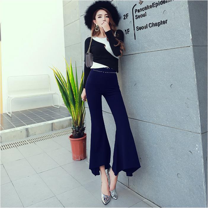 กางเกงขาม้าผู้หญิงสีดำ เอวสูง เอวแต่งหมุด สุดเก๋