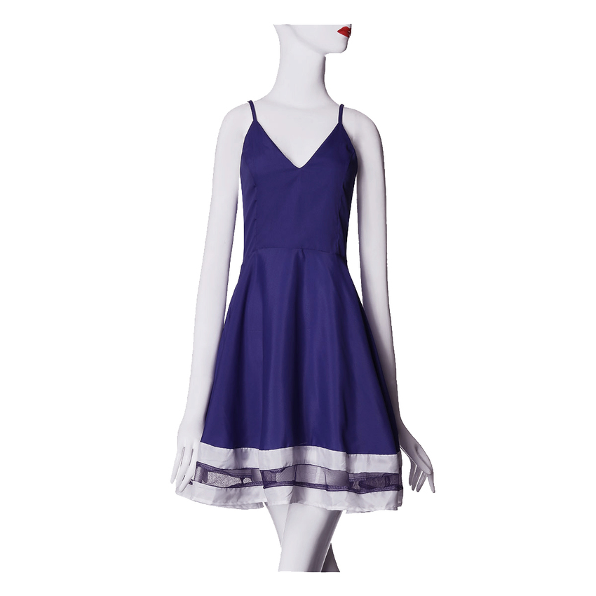 Zanzea Women V neck Stripe Mini Women - Dresses 4XL (Blue)