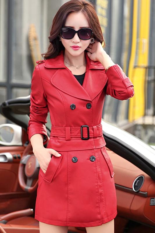เสื้อโค้ทหนัง เสื้อกันหนาว เสื้อแจ็คเก็ตหนัง พร้อมส่ง สีแดงสด คอปก หนัง PU คุณภาพพรีเมี่ยม ตัวยาวคลุมสะโพก มีเข็มขัดเข้ากับตัวชุด ติดกระดุม 2 แถวคู่เก๋ สามารถแยกใส่เป็น แจ็คเก็ตหนังตัวสั้นได้ค่ะ มีกระเป๋าใช้งานได้ มีซับใน เหมาะสำหรับใส่เดินทางไปต่างประ