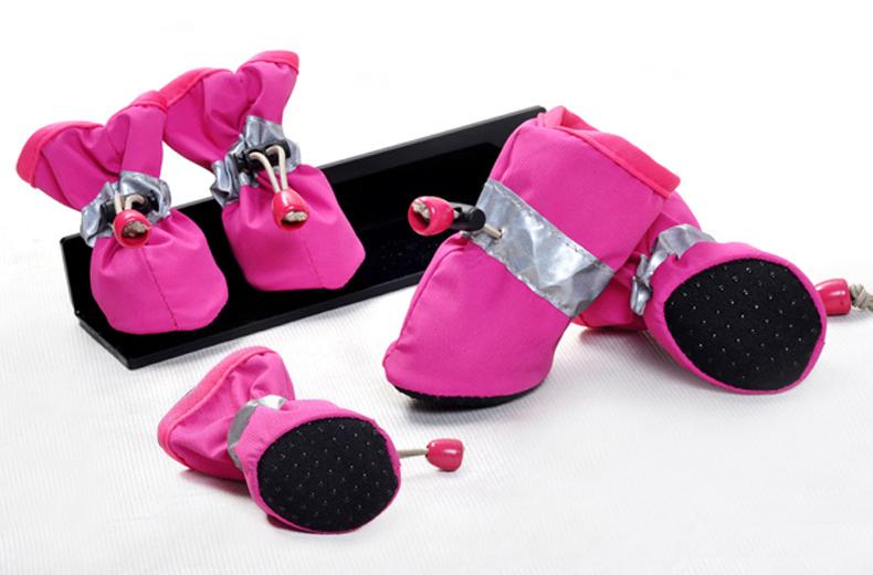 รองเท้าสุนัข รองเท้าแมว สีชมพู (4 ข้าง)