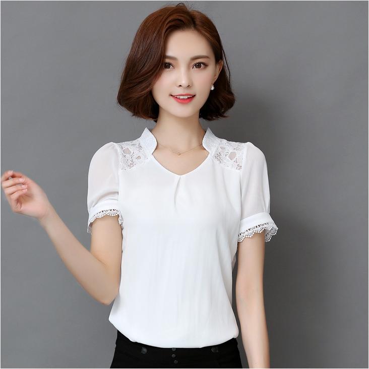 เสื้อทำงานสีขาว แขนสั้น ผ้าชีฟอง สวยดูดี เรียบร้อยสไตล์สาวออฟฟิศ