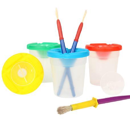 ถ้วยล้างพู่กัน Childrens Paint Brush and Non-Spill Paint Pot