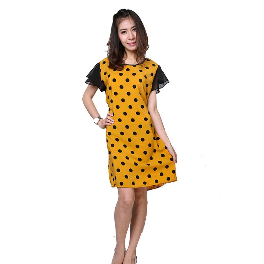 All about Fashionista เดรสสั้น ผ้าหางกระรอกลายจุด (สีเหลือง)