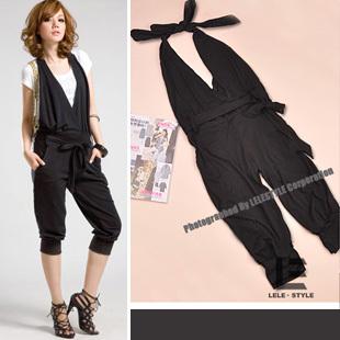 jumpsuit ชุดเอี๊ยมกางเกงขาสั้น สีดำ แฟชั่นใส่เที่ยว ใส่ทำงาน ผ้าคอตตอน เท่ห์ๆ