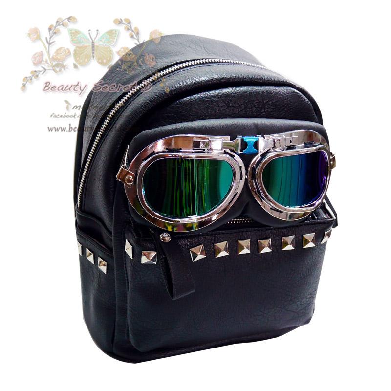 กระเป๋าเป้ แฟชั่น สุดแนวสำหรับผู้หญิง Beautysecretd Woman Street Glasses Rivet Handle Backpack
