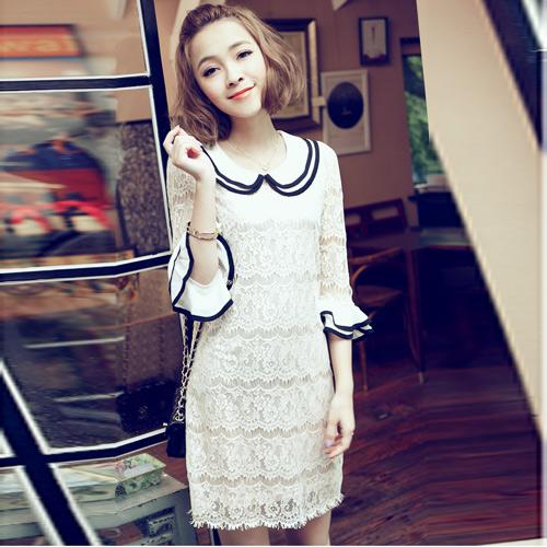 dress ชุดเดรสแฟชั่นผ้าลูกไม้ สีเบจ คอตุ๊กตาเกาหลี ใส่ทำงาน สามารถใส่ออกงานได้ น่ารักมากๆ ค่ะ Asia Street Fashion