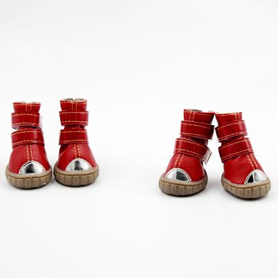 รองเท้าสุนัข รองเท้าแมว สีแดงแบบหนังกันลื่น (4 ข้าง)