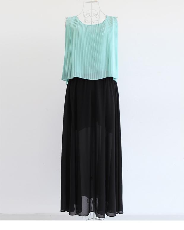 MAXI DRESS ชุดเดรสยาวผ้าสองชิ้น ส่วนกระโปรงสีดำ เสื้อสีเขียวอ่อน แฟชั่นใส่เที่ยว ใส่ทำงาน สวยน่ารักมากๆ ASIA STREET FASHION