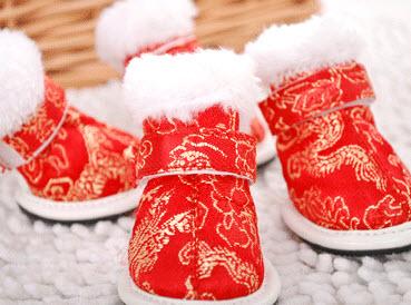 รองเท้าสุนัข รองเท้าแมวกันลื่น ตรุษจีน (4 ข้าง)