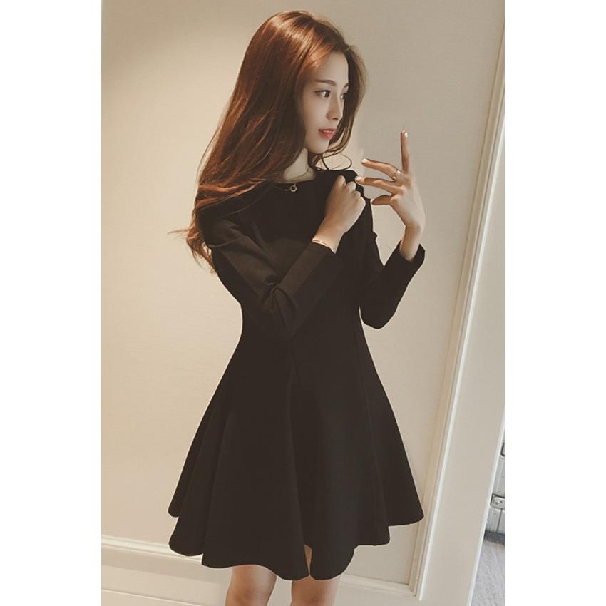 Korea New Style Slim Black One-piece Women - Dresses