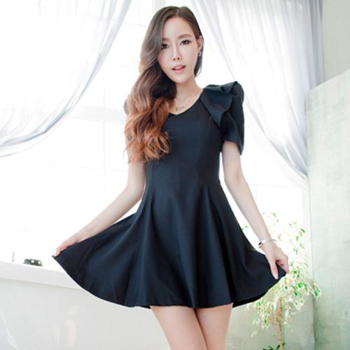 dress ชุดเดรสแฟชั่นแขนสั้น คอกลม สีดำ เแฟชั่นใส่ทำงาน น่ารัก ใส่ทำงานออฟฟิต สวยมากๆ จ้า