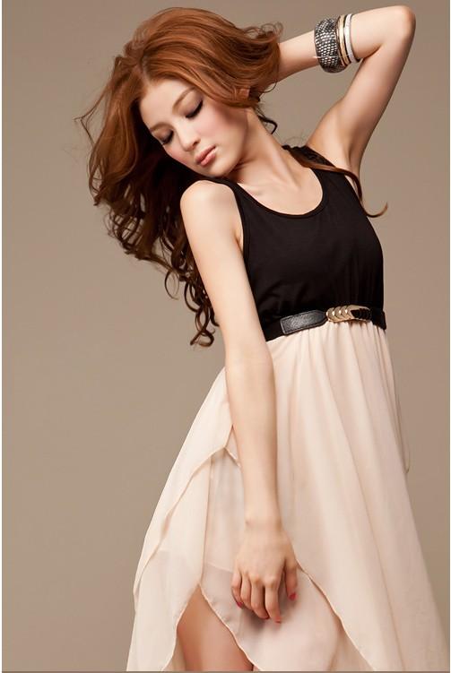 maxi dress ชุดเดรสยาวแฟชั่น แขนกุด ใส่ไปงานบายเนียร์ เซ็กซี่ ผ้าคอตตอน + ชีฟอง สีดำ ขาวครีม ใส่ออกงาน