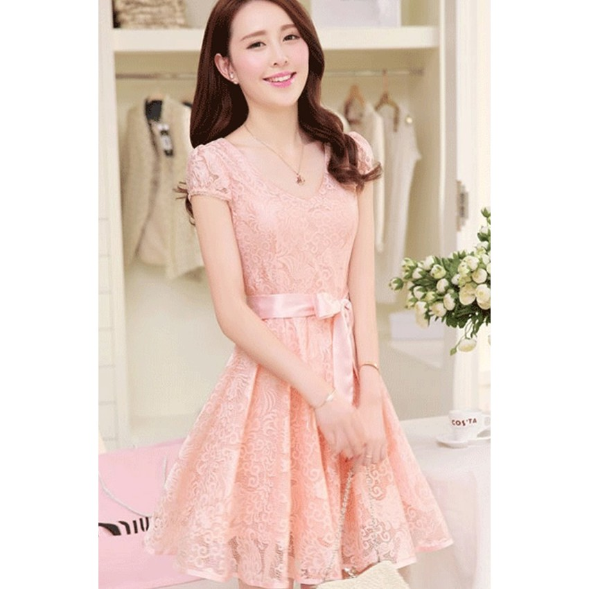 2015 Summer New style Women's Lady Slim-fit Medium style LaceChiffon Sleeveless Long Women is Dresses Onlinees (Pink)