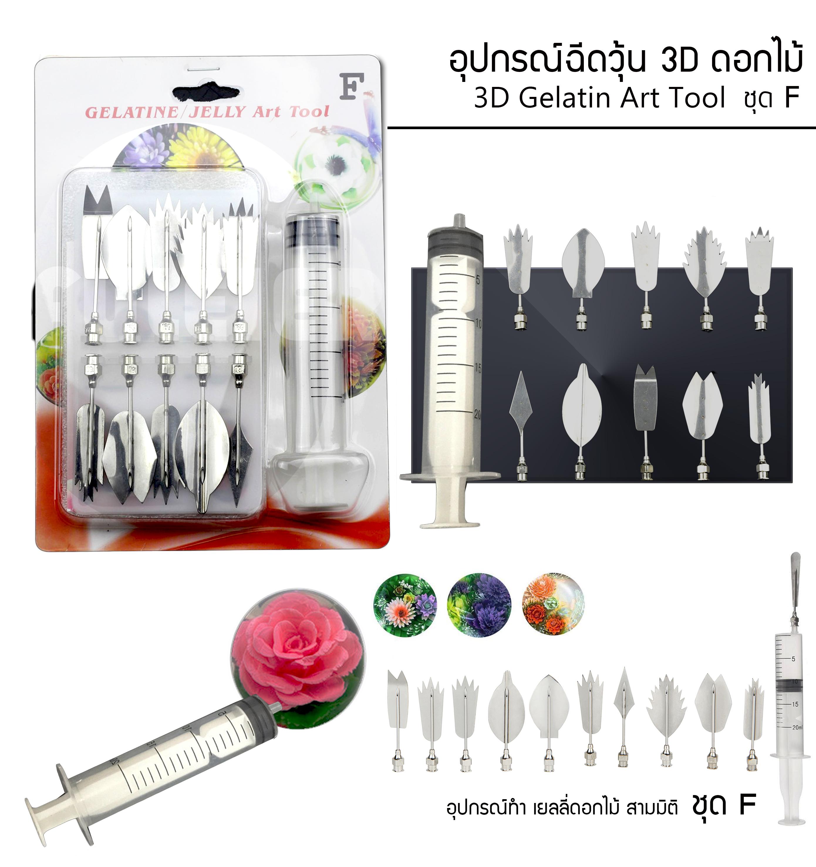 อุปกรณ์ ฉีดวุ้นดอกไม้ 3มิติ ชุดF (3D Gelatin Art Tool ชุด F)