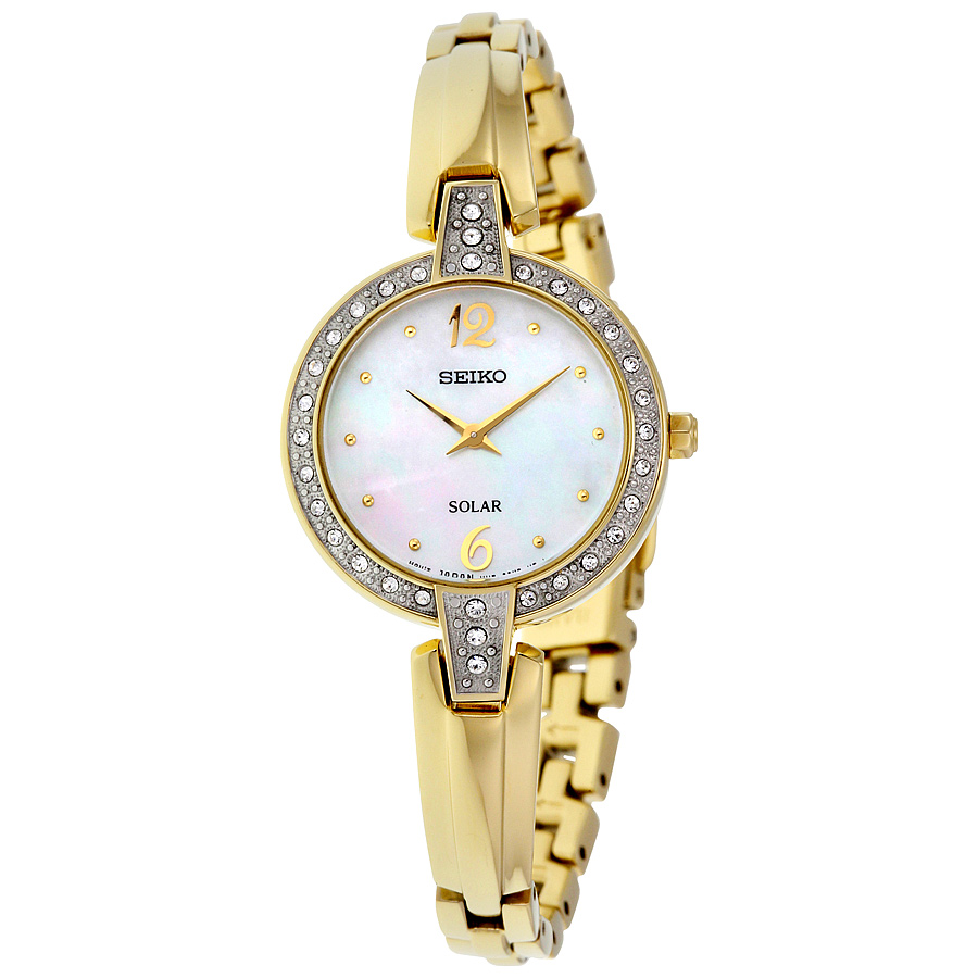 Seiko SUP290 Women's Gold Bracelet Band Pearl Dial Watch