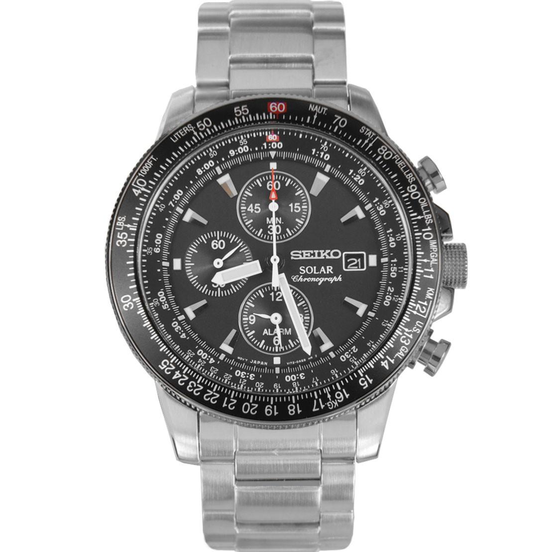 SEIKO Pilot's Solar Chronograph Alarm Men's Watch รุ่น SSC009P1