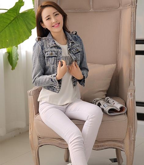 เสื้อแจ็กเก็ตยีนส์ พร้อมส่ง สียีนส์ฟอก มาดเซอร์ แขนยาว ดีเทลหัวไหล่สุดเท่ห์ แบบใหม่สไตล์เกาหลี