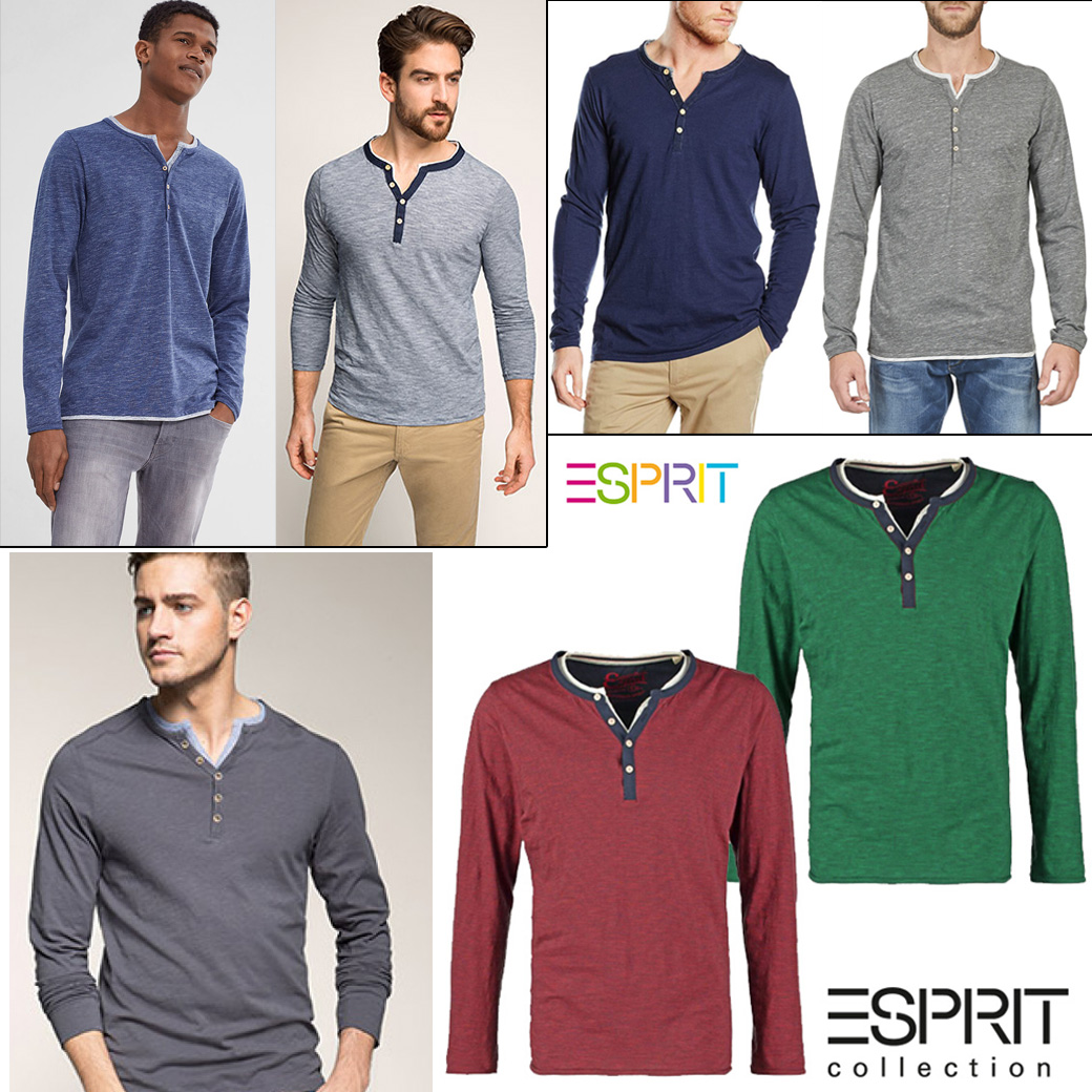 Esprit Men's Henley Button Front Long Sleeve T-Shirt