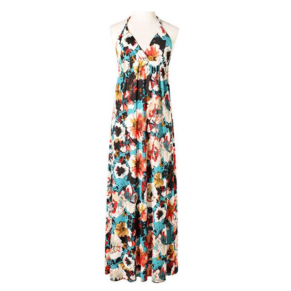 Maxi dress ชุดเดรสยาว พร้อมส่ง สีกรม สายคล้องคอ แต่งลวดลายดอกไม้ เนื้อผ้าทิ้งตัว