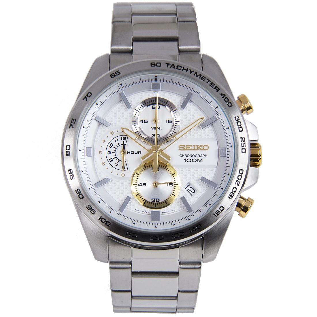 SEIKO Sport นาฬิกาข้อมือผู้ชาย Chronograph เรือนสแตนเลสหน้าปัดขาว รุ่น SSB285P1