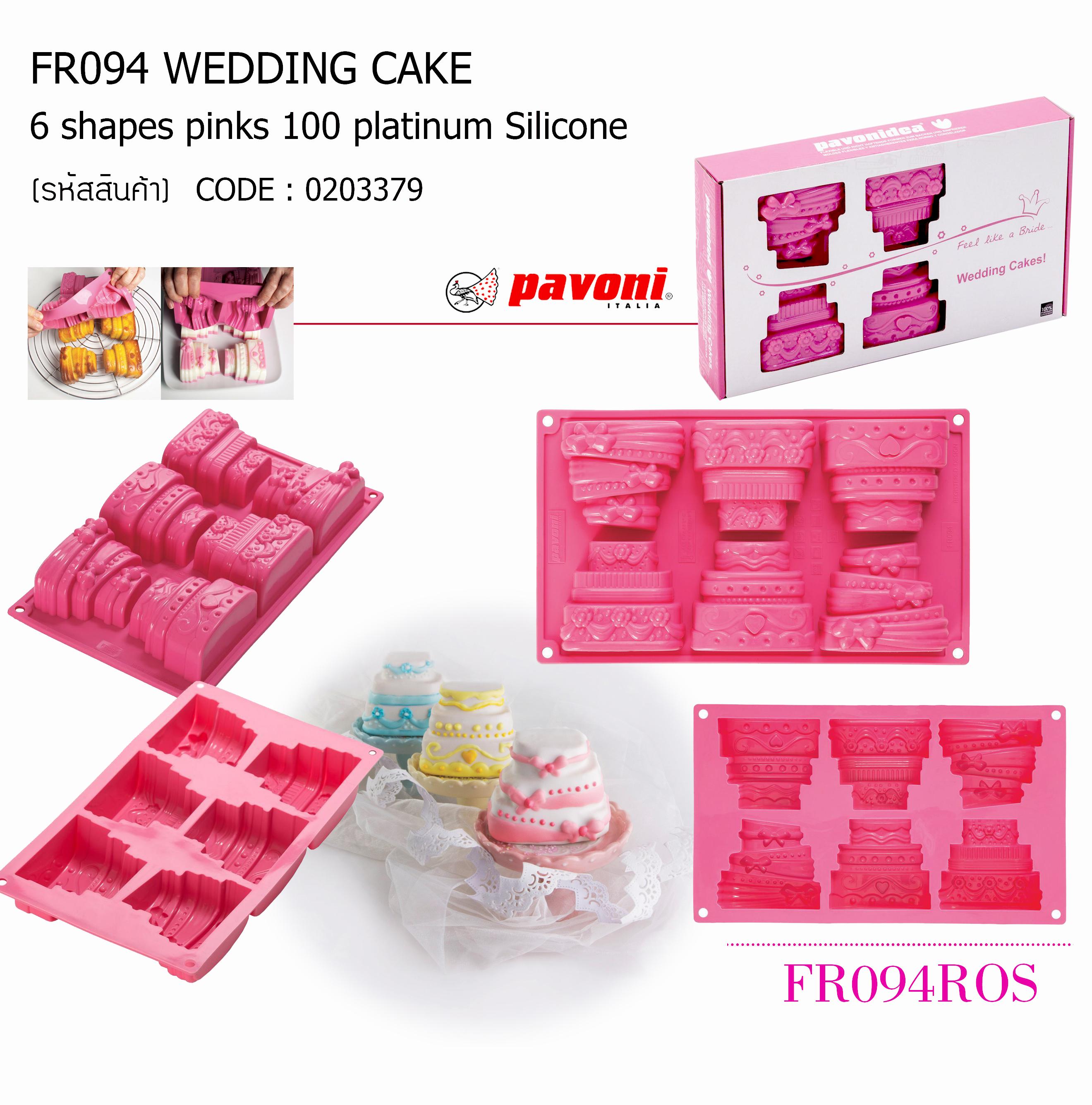 FR094 Wedding Cake 6 shapes pinks 100 platinum Silicone