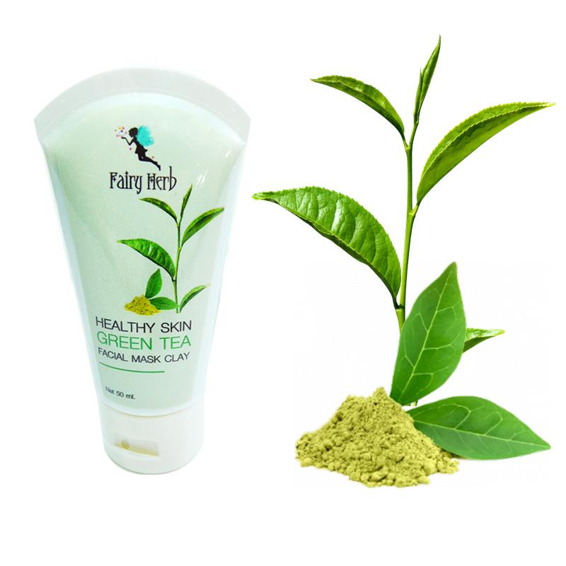 แฟรี่ เฮิร์บ มาร์คโคลนชาเขียวสำหรับพอกใบหน้า Fairy Herb Healthy Skin Green Tea Facial Mask Clay