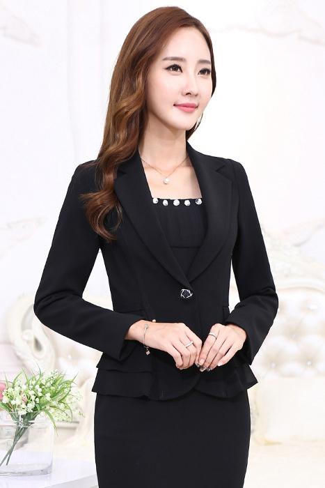 เสื้อสูทแฟชั่น เสื้อสูททำงาน เสื้อสูทสำหรับผู้หญิง พร้อมส่ง สีดำ คอปก แขนยาว สินค้าจริง งานสวยเหมือนแบบเลยค่ะ