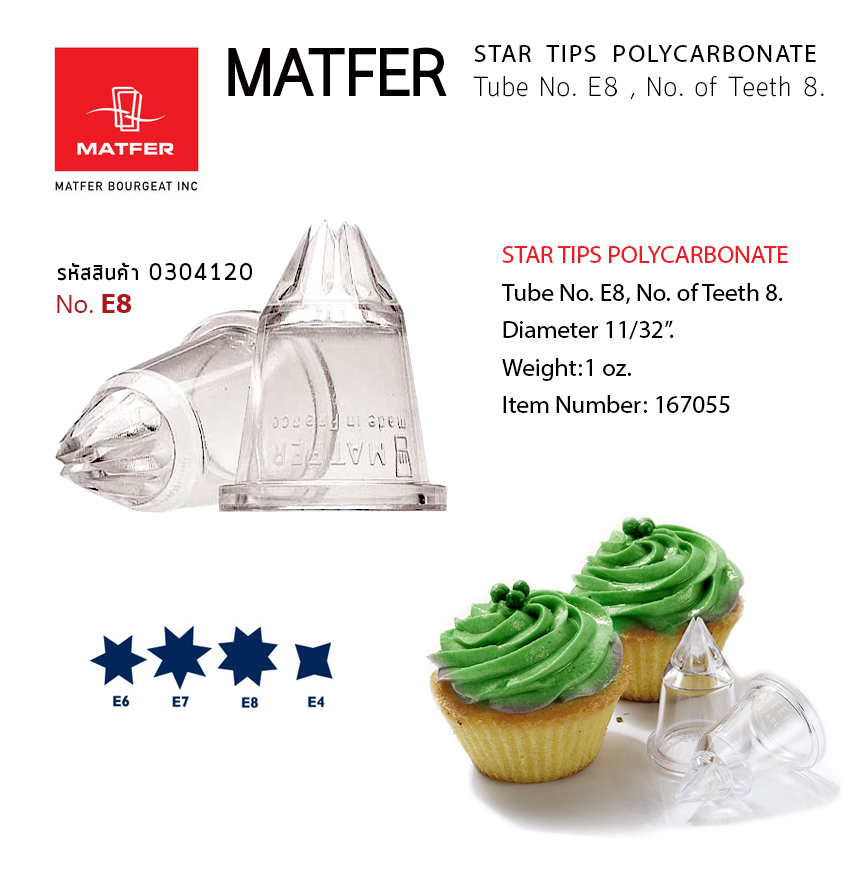 Matfer E8 STAR TIPS POLYCARBONATE of Teeth 8. SET 2PC STAR TUBES (167055)