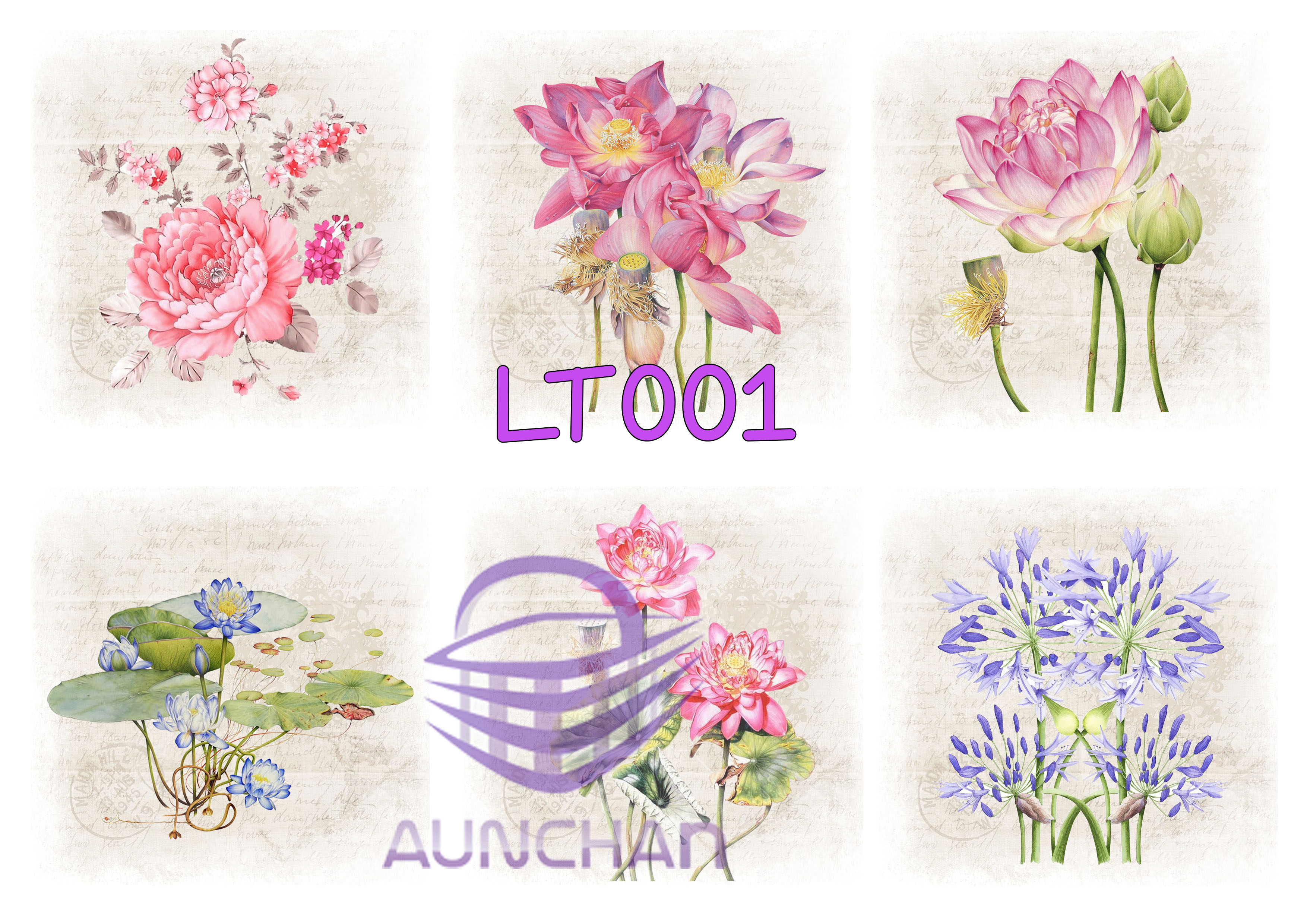 LT001 กระดาษแนพกิ้น 21x30ซม. ลายดอกบัว