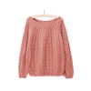 Women Girl Long Sleeve Knit Sweater Loose Casual Pullover KnitwearTops (Watermelon Red)